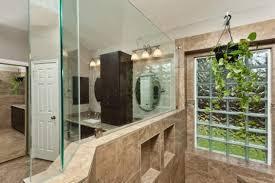 bathroom wall with glass block tileirror