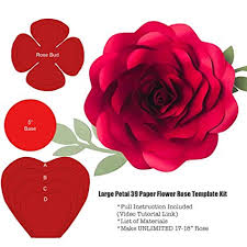 Paper Flower Video Large Petal 39 Paper Flower Rose Template Stencils