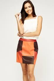 orange leather mini skirt