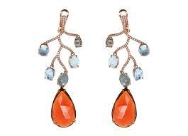 aquamarine garnet chandelier earrings