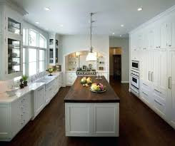 light grey kitchen cabinets with butcher block countertops gray
