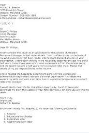 Restaurant Manager Resume Cover Letter