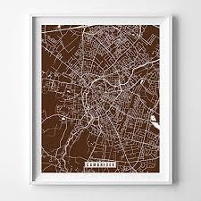 Amazon Com Cambridge England Uk City Street Map Wall Art