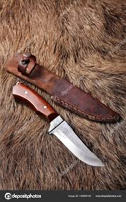 hunting knife with leather sheath on a wild boar furs background stock photo