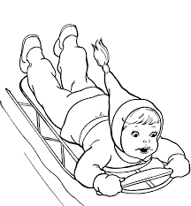 Printable Winter Coloring Pages Girl Sledding