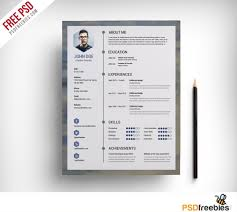 Free Clean Resume Psd Template Uxfreecom