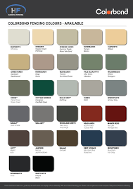Colorbond Colour Chart Harding Fencing