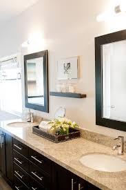 espresso double vanity with granite countertop