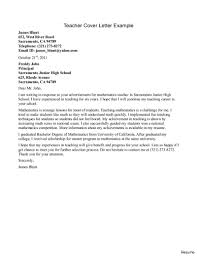 Sample Teacher Cover Letter Cover Letter Example Of A Teacher With