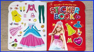 Sách dán hình và tô màu công chúa búp bê Barbie phần 1 - Sticker book  coloring Barbie (Chim Xinh) - YouTube