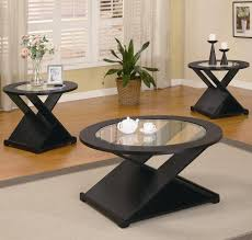 black 3 pieces round occasional table set home living room