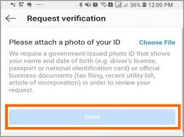 instagram verification request