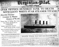 titanic newspaper article the virginian pilot