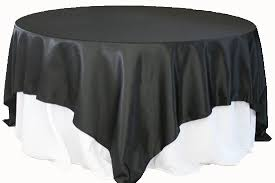 square 90 x90 satin table overlay black