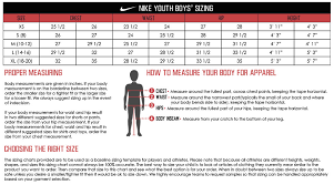 Nike Big Kid Size Chart Www Bedowntowndaytona Com