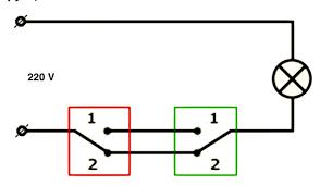 Как подключить переключатель (проходной <b>выключатель</b>)
