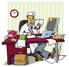 messy desk clipart. Perfect Messy Busy Chief Doctor In A Office At The Table Writing Talking On Phone To Messy Desk Clipart