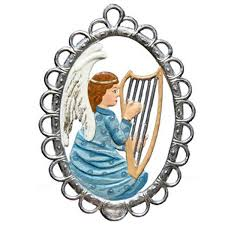 angel with harp in filigree frame ornament by wilhelm schweizer image
