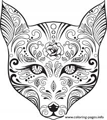 Small Picture Advanced Cat Sugar Skull Coloring Pages Printable