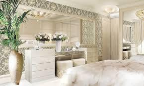 mosaic bedroom furniture. Lidia Bersani / Luxury Interior - Modern Bedroom, Commode With Big Mirror And Round Poufs Mosaic Bedroom Furniture N