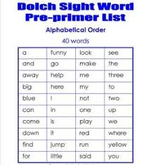 Pre Primer Dolch Dolch Sight Word Lists Pre Primer And Primer A Wellspring