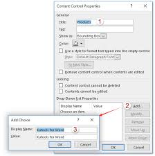 How To Add A Drop Down Box In Word How To Insert A Drop Down List In Word