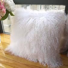 mongolian fur pillow. Unique Mongolian Amazoncom Luxurious Mongolian Lamb Wool Cushion Cover Curly White Fur  Pillowcase 50x50cm Home U0026 Kitchen To Pillow