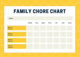 Chore Chart Editable Template Yellow Beehive Pattern Family Chore Chart Templates By Canva