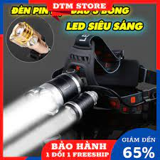 Đèn pin đội đầu 3 bóng ánh sáng trắng siêu sáng,đèn pin đội đầu chống nước  kèm 2 pin sạc và cục sạc - DTM Store - Đèn pin