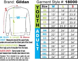 Gildan 50 50 Size Chart Garment 18000 Gildan 50 50 Blend Sweatshirt