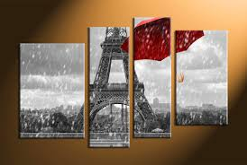home decor 4 piece wall art umbrella panel art eiffel tower art pictures on wall art black white and red with 4 piece black and white red umbrella art