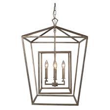 four light chandelier antique silver