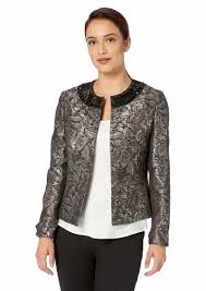 kasper women s jewel neck jacquard fly away jacket
