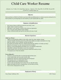 Child Care Worker Description Resume Amazing Resume Examples For
