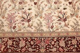ivory fl modern silk qum persian rug 49418 flowers nazmiyal