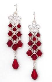 03 04 420 siam red crystal chandelier earrings
