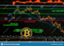 Bitcoin Gold Coin And Defocused Chart Background Virtual