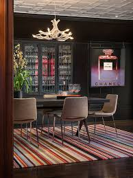 view in gallery colorful contemporary rug under dining table