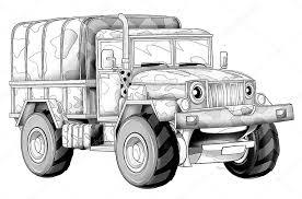 Kleurplaat Militaire Vrachtwagen Stockfoto Illustratorhft