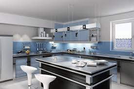 Kitchen Cabinets Blue Kitchen Vaulted Lakehouse Kitchen With White Walls Plus Gray