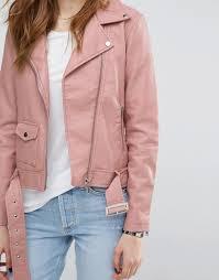 warehouse warehouse leather look biker jacket women pink