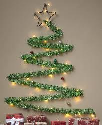 Christmas Tree Design On Wall With Lights Lighted Tinsel Christmas Wall Tree Wall Christmas Tree