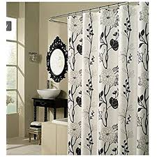 black and white shower curtains. Black And White Flower Fabric Shower Curtain Curtains S