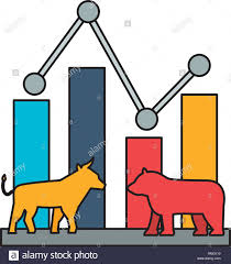 Bull Bear Trade Chart Stock Market Stock Vector Art