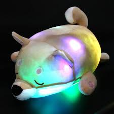 Houwsbaby Led Shiba Plush Pillow Light Up Dog Stuffed Animal With Colorful Night Lights Chubby Toys Glow In Dark Gift For Kids Friends Light Brown