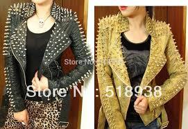 women jacket black leather glod punk strong spike rivet studded shoulder snake pattern pu zipper coat
