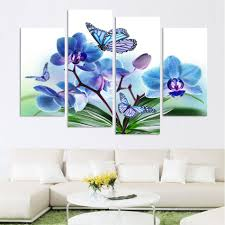 4panel hot sell canvas painting the family decorates high quality blue orchid flower print on canvas on blue orchid canvas wall art with 4panel hot sell canvas painting the family decorates high quality