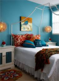 Orange And Teal Bedroom Tremendous Orange And Blue Bedroom Decoration With Ikea Bed With