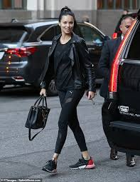 stunner adriana lima 37 turned heads in a rocker chic ensemble in new