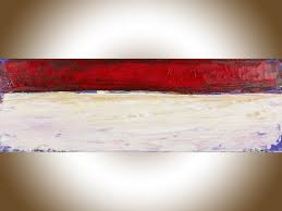 red abstract by qiqigallery 36 x 12 abstract landscape painting original art red brown painting on canvas art wall art wall decor home decor wall